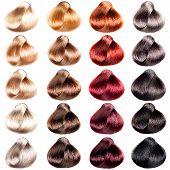 stock photo of hair dye  - Hair Palette samples of different colors - JPG