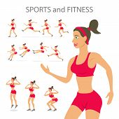 foto of surya  - Different poses sporty dancing girl in red sports pants black color short hairstyle - JPG