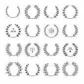 picture of laurel  - Set of laurel wreaths - JPG