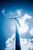 picture of generator  - wind generators aganist the blue sky - JPG