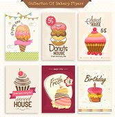 picture of donut  - Set of different bakery flyers or menu cards decorated with ice cream - JPG