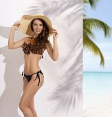 image of woman bikini  - fashion summer shoot of very sexy brunette woman with perfect body big straw hat on the head fashion bikini and necklace - JPG