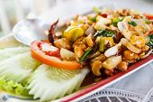 pic of fried onion  - fried chicken stir fry with cashew nut sweet pepper onion - JPG
