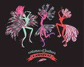 stock photo of carnival brazil  - Illustration of dancing women in carnival costumes of feathers - JPG