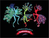 picture of brazil carnival  - Illustration of dancing women in carnival costumes of feathers - JPG