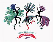 picture of brasilia  - Illustration of dancing women in carnival costumes of feathers - JPG