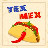 foto of chili peppers  - texas mexican cuisine menu template with taco chili pepper and geometrical border on bright background - JPG