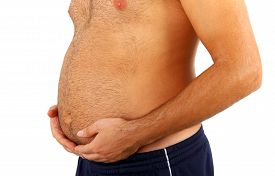 stock photo of big belly  - Big belly of a fat man isolated on white background. ** Note: Shallow depth of field - JPG