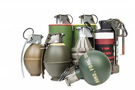 pic of grenades  - All explosives weapon armystandard timed fuze hand grenade on white background - JPG