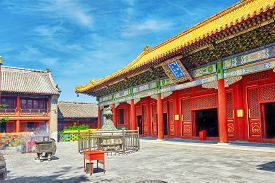 stock photo of lamas  - Yonghegong Lama Temple - JPG