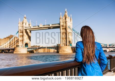poster of Tower Bridge London city travel woman tourist girl at Europe destination landmark famous attraction.