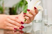 Manicure Concept. Beautiful Womans Hands With Perfect Manicure At  Beauty Salon. poster