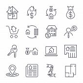 Real Estate. Set Of Outline Vector Icons. Includes Such As Property, Building, Apartment And Other. poster