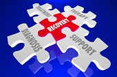 Recovery Diagnosis Treatment Support Therapy Puzzle Pieces 3d Illustration poster