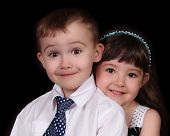 foto of fraternal twins  - adorable close - JPG