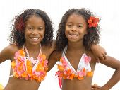 stock photo of identical twin girls  - Identical twin sisters dressed up as hula girls - JPG
