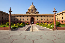 picture of rashtrapati  - One of the many entrances to Rashtrapati Bhavan the Presidential House in New Delhi India - JPG