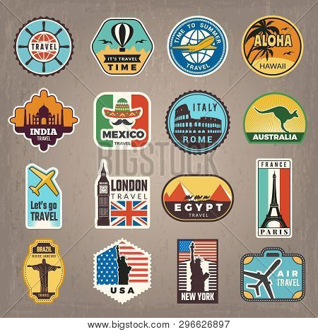 poster of Travel Stickers. Vacation Badges Or Logos For Travelers Vector Retro Pictures. Illustration Of Trave