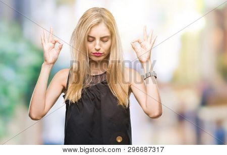 poster of Young beautiful blonde and blue eyes woman over isolated background relax and smiling with eyes clos