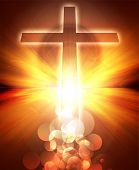 stock photo of christian cross  - Glowing sunset with cross - JPG