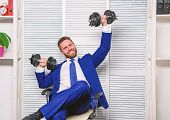 Good Job Concept. Boss Businessman Office Manager Raise Hands With Dumbbells. Boost Business. Boost  poster