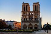 Facade of famous Notre-Dame de Paris cathedral in Paris, France. poster