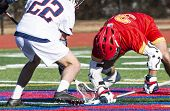 Two Boys Fight For The Ball After The Faceoff Of A High School Lacrosse Game. poster