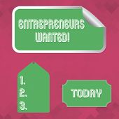 Word Writing Text Entrepreneurs Wanted. Business Concept For Looking For A Demonstrating Willing To  poster