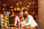 Nursery Concept. Nursery Child With Man And Woman In Play Room. Nursery And Kindergarten. Nursery Sc poster