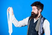 A Wonderful Necktie To A Classic Look. Brutal Caucasian Hipster Holding Necktie. Bearded Man With Ne poster