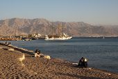 EILAT, ISRAEL - DECEMBER, 12, 2011: Evening On The Beach