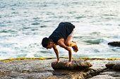 Summer Yoga Session On A Beautiful Golden Beach Of Lima In Peru Yoga Tour, Bakasana Crow Crane Pose poster