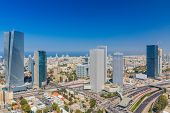 Large Panorama Of Tel Aviv Skyline,  Tel Aviv Cityscape Large Panorama At Day, Israel poster
