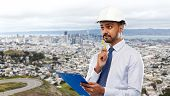 architecture, construction business and building - indian architect or businessman in helmet with cl poster