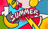 Summer. Pop Art Poster Or Banner. Funny Comic Fresh Summer Word. Social Media Communication. Trendy  poster