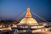Kathmandu Nepal Boudhanath Stupa Is One Of The Largest Buddhist Stupas In The World. It Is The Cente poster
