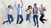 Happy Students Jumping On White Background, Passed Exams And Having Fun poster