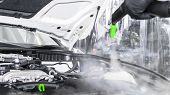 Car Detailing. Car Washing And Cleaning Engine. Cleaning Car Engine Using Hot Steam. Hot Steam Engin poster