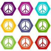 Sign Hippie Peace Icon Set Many Color Hexahedron Isolated On White Illustration poster