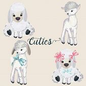 Collection Of Pretty Vector Lamb For Design In Watercolor Style poster