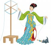 foto of thread-making  - Illustration of beautiful Chinese woman sitting at a spinning wheel  and making a spool of silk thread and kitten playing with falling spool next to her - JPG
