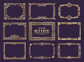 Art Deco Borders. 1920s Golden Frames, Nouveau Fancy Decorative Elements For Vintage Posters. Vector poster