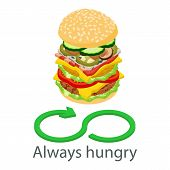 Always Hungry Icon. Isometric Illustration Of Always Hungry Icon For Web poster