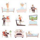 Active Man Daily Routine. Lifestyle Everyday Businessmen Work Busy People Vector Character Isolated. poster