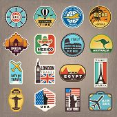 Travel Stickers. Vacation Badges Or Logos For Travelers Vector Retro Pictures. Illustration Of Trave poster