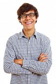 Happy successful young man in glasses standing isolated on white background. Mask included