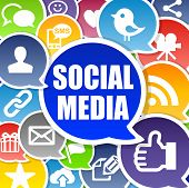 stock photo of  media  - Social Media Background Concept with Speech Bubbles - JPG