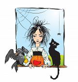 stock photo of baby spider  - Baby witch with black cat - JPG