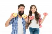 We Love Donuts. Fathers Day Present. Perfect For Dads With Sweet Tooth. Girl Child And Dad Hold Colo poster
