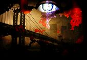 image of science fiction  - Bridge and eye abstract - JPG